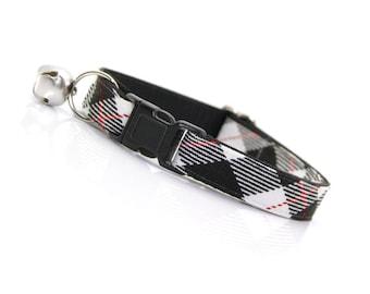 "Plaid Cat Collar - ""London"" - Black Cat Collar Breakaway / Preppy Cat Collar / Kitten Collar / Boy Cat / Cat, Kitten & Small Dog Sizes"