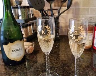Engagement Champagne Flutes Set- FREE Monogram Personalization Available