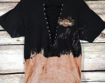 Harley Davidson bleached lace up tshirt dress black Lf Inspired Large