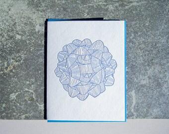 Blue Bow Letterpress Greeting Card