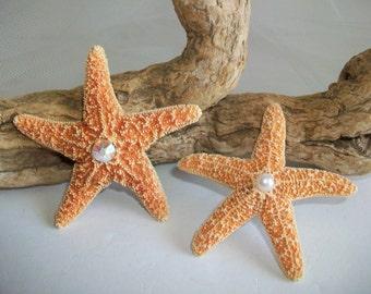 Beach Theme Wedding Orange Starfish Boutonniere Pin or Embellishment for Corsage, Orange Starfish Pin with Rhinestone or Pearl Accent