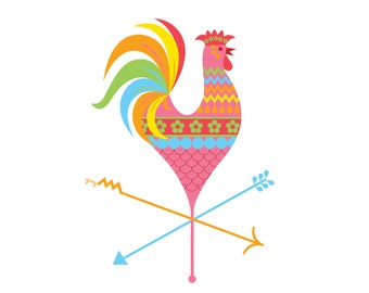Rooster Decor, Chicken Art, Boho Decor, Kitchen Wall Art, Retro Kitchen, Chicken Gift