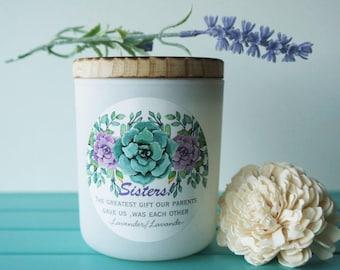 La bougie de soja parfumée / «Soeurs». / Lavande/Handpoured