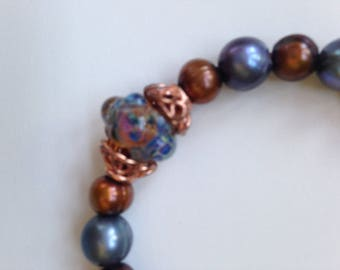 Pearls and Glass Bead with Copper Bracelet