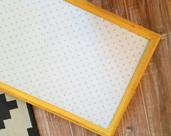 Yellow and White Star Fabric Bulletin Board READY TO SHIP Nursery Cork Board Girls Room Decor