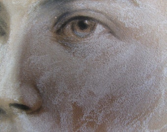 Antique Crayon Portrait/ Pastel Portrait/ Charcoal Sketch/ Farmhouse Decor