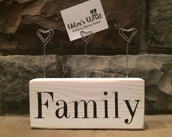 Rustic Handmade Wood Family Photo or Memo Holder with Metal Heart Photo Clips