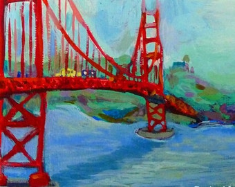 golden gate ... Ode to The Golden Gate Bridge ... limited edition print • giclee • art • california • san francisco • travel • red • gift