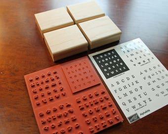 "Stampin Up ""Alphabits"" Stamp Set - NEW UNMOUNTED Alphabet Rubber Stamp Set of 4"