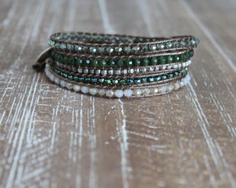 green diopside and crystal wrap bracelet