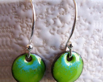Petite Ombre Enamel Earrings, Lime Green and Robins Egg Kiln Fired Glass Enamel, Sterling Silver Hooks, Small Dangle Earrings