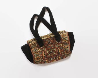 Vintage 60s CARPET BAG / 1960s Oversized Boho PURSE Carry On Travel Bag