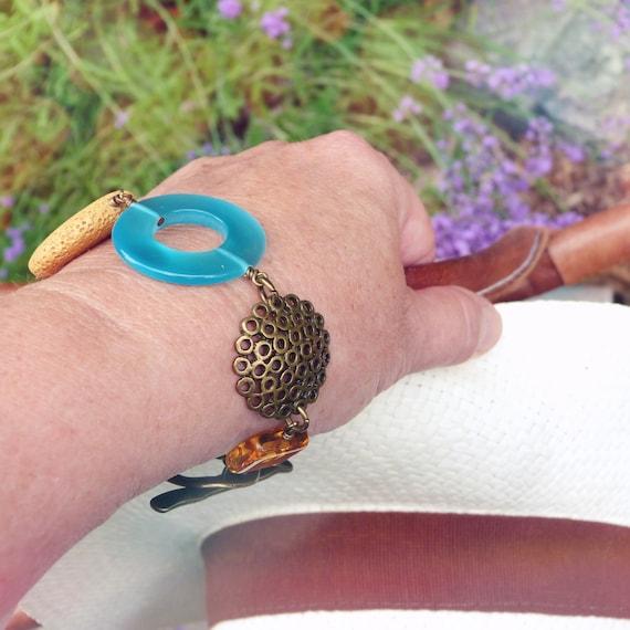 Big bracelet, Boho bracelet, Yellow turquoise bracelet, Original bracelet, Boho jewelry, Summer bracelet, Colorful bracelet, Bold bracelet