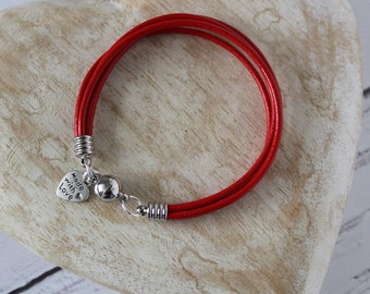 4 leather strand bracelet, leather cord, magnetic clasp, various colours available, ladies jewellery, gift idea