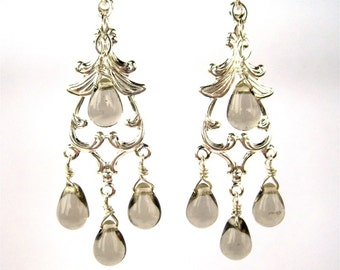 Dove Gray Chandelier Clip-on Earrings, Silver Dangle Clipons, Grey Teardrops, Edie
