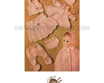 "1980s 10"" 12"" Dolls Clothes 7 Piece Layette with carrying cape Vintage PDF Knitting Pattern 33"