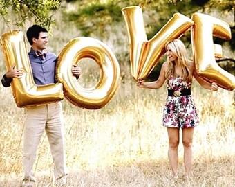 "32""/38""/40"" Jumbo LOVE balloon | Matt gold foil letter balloon | wedding-wedding decor | love balloons | bridal shower | wedding photos"