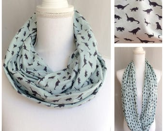 Dinosaur Scarf - Animal Scarf- Stocking Stuffer- Knit Infinity Scarf - Dinosaur Infinity Scarf - Knit Circle Scarf