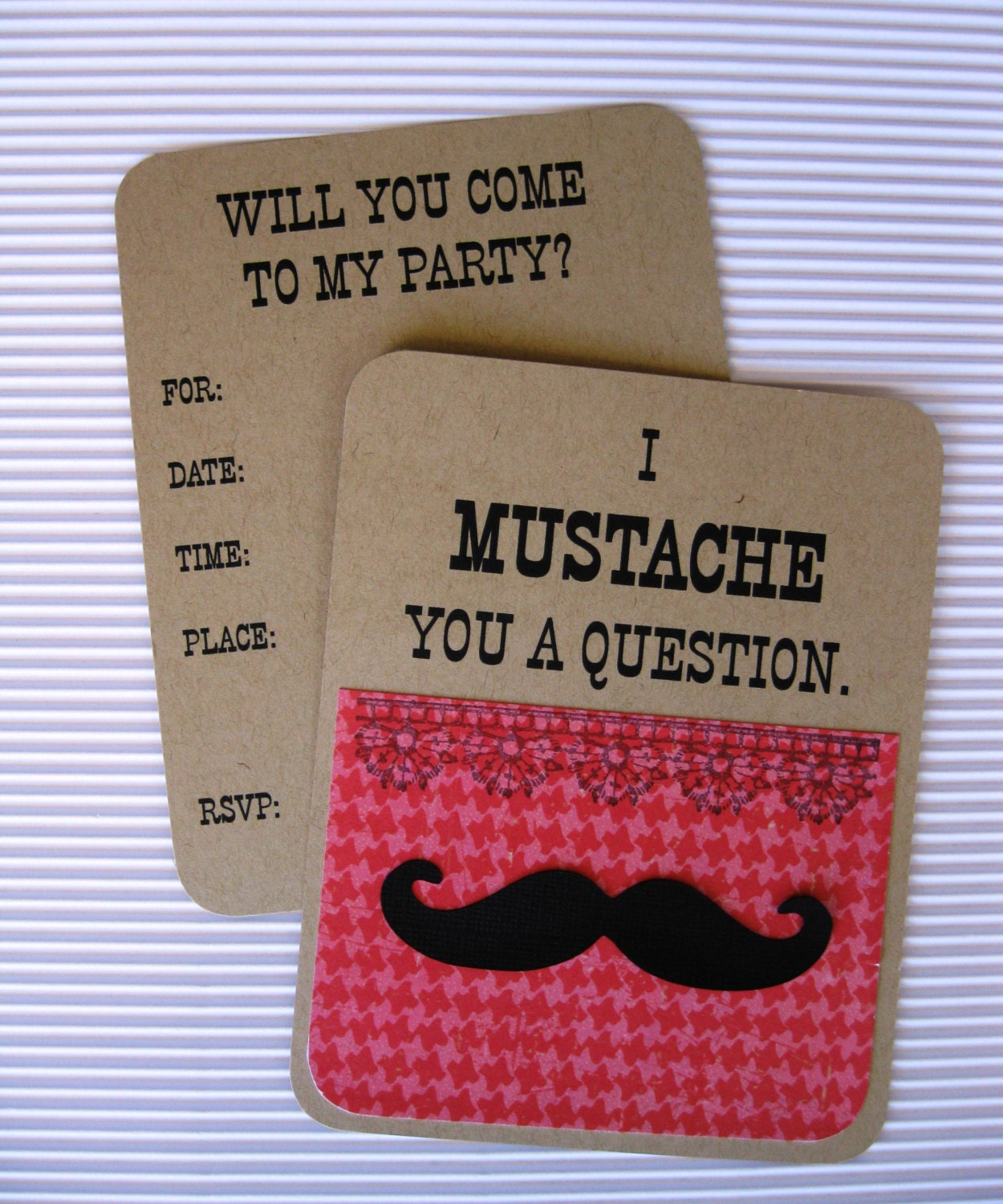 Girl\'s Mustache Party Invitation Set of 8