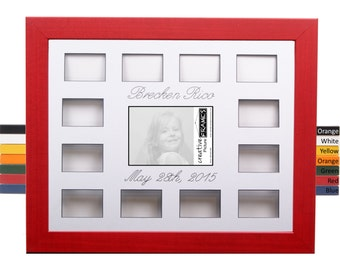 Personalized First Year Collage 16x20 Frame Holds 1- 5x7 and 12- 2x3 Wallet Size Photos // 12 Month Photo Frame