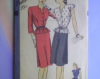 Vintage 40s Hollywood Pattern Two Piece Peplum Dress 34