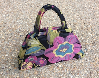 Black Large Purple Floral Bag