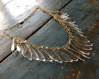 Clear Jingle Leaves Necklace - Adjustable Frosted Gold Chain   Statement Crystal Leaf Vintage Lucite Necklace