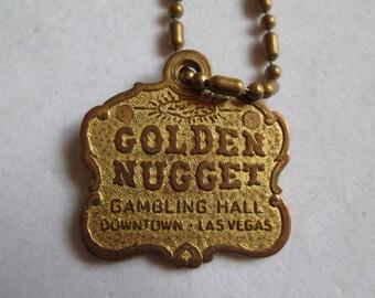 Vintage Golden Nugget Gambling Hall Las Vegas gold keychain