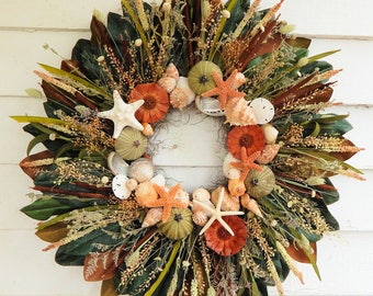 decor nautical seashell wall wreath heart door beach wreaths p shaped s doors seaside coastal
