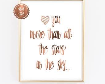 Copper print // Copper quotes // love you // stars // copper foil print // nursery print // kids poster // copper art // real copper foil
