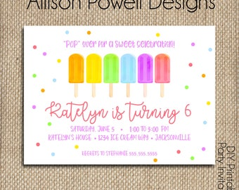 Popsicle Birthday Party Invitation - Print your own - Printed