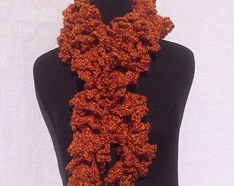Curly Boa Scarf in Rusty Orange