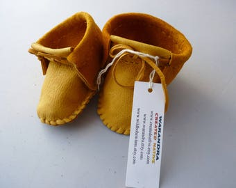 Infant size moccasins made with soft pliable deerskin leather, regalia, native shoes, native american,