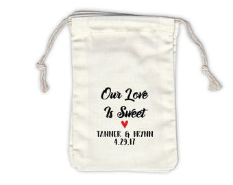 Our Love Is Sweet Personalized Cotton Bags for Wedding Favors in Black and Red Brush - Ivory Fabric Drawstring Bags - Set of 12 (1037)