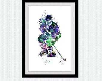 Hockey watercolor print Hockey poster Hockey player print Sport poster Home decoration Kids room wall art Hockey decor Christmas gift W384