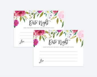 Printable Date Night Cards | Watercolor, Date Night Ideas, Date Jar, Instant Download