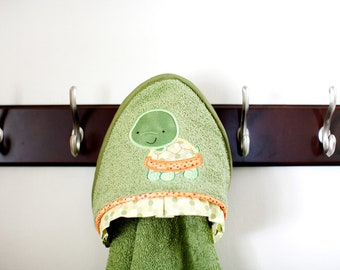 personalized hooded towel turtle applique many colors