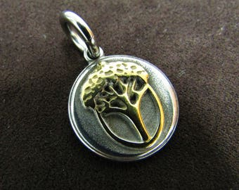 Stainless Steel Golden Acorn Tree Pendant