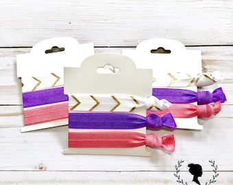 White, Purple and Coral Hair Tie Set