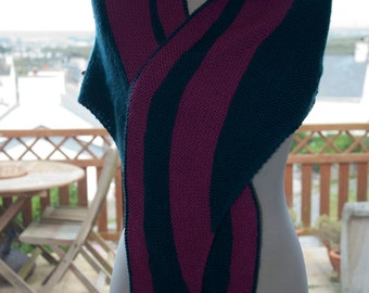 Handknitted Shawl/Wrap in Pink and Petrol Blue/Green