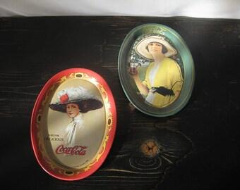 Vintage Oval Tin Coca-Cola Trays / Pair of 1973 Tin Coca-Cola Trays