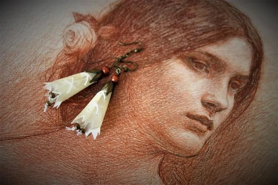 fairy Earrings, pendants, parchment, elven, romantic, bells, ivory color