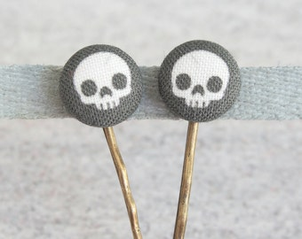 Black Skulls Fabric Covered Button Bobby Pin Pair