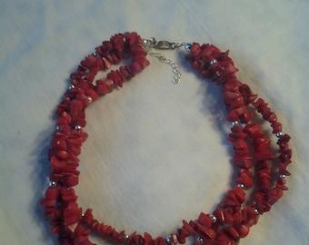 On Sale Ruby Red Semi-Precious Stone Choker Necklace