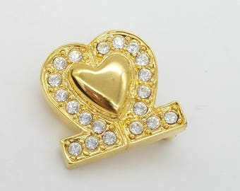 Vintage Gold-Tone Heart & Rhinestone Valentine's Brooch - Old Stock, New Condition