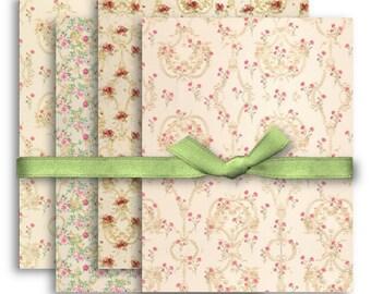 A4 Floral Backgrounds Digital Collage Sheet Download -1097- Digital Paper - Instant Download Printables