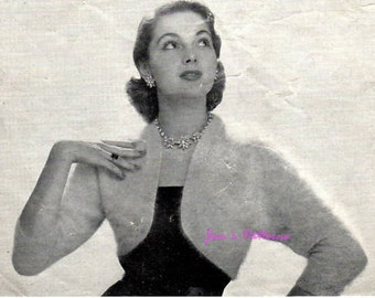 Vintage Knitting Pattern from the 1950's.  Paton's Angora Shrug
