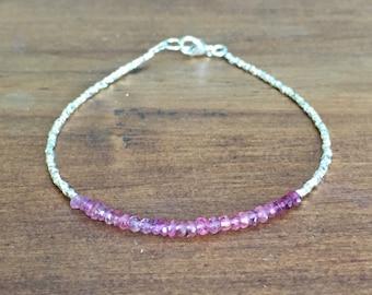Shaded Pink Tourmaline and Karen Hill Tribe Silver Bracelet, Beaded bracelet, Gemstone bracelet, October Birthstone bracelet