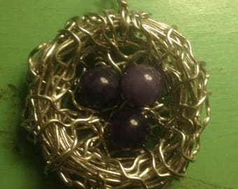 Silver and Amethyst  Bird Nest Egg Pendant