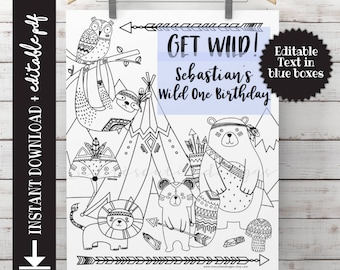 Wild One Birthday Coloring Page - Tribal Animals - Instant Download - Printable - EDITABLE PDF